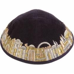 Kipa Jerusalém Luxo Preto Y30