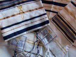 Talit Messianico Azul Marinho e Dourado