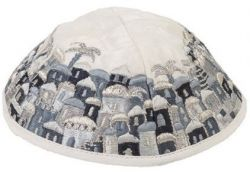 Kipá Luxo Jerusalém Branco Cinza - Y60