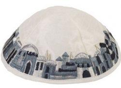 Kipá Luxo Jerusalém Branco Cinza - Y61