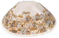 Kipá Luxo Jerusalém Branco Dourado - Y62