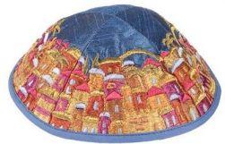 Kipá Luxo Jerusalém Azul Colorido - Y63