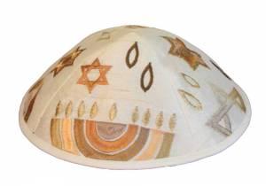 Kipá Bordado Símbolos Judaicos - Y08