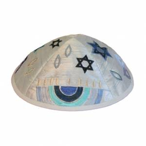 Kipá Bordado Azul - Símbolos Judaicos - Y14